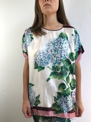Dolce & Gabbana Short Sleeve Multi Hydrangea Top Tops
