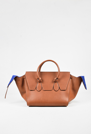 "Tan Calfskin Leather Double Handle ""Medium Tie Tote"" Bag"