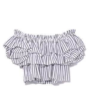 Pandora Ruffle Top in Black/White