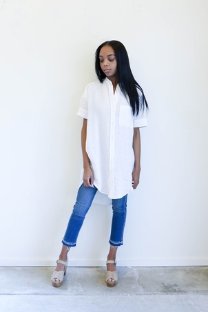 Linen Shirtdress in Off White