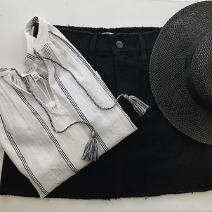 FRAME Hat Attack Joie Black + White Accessories Skirts Tops
