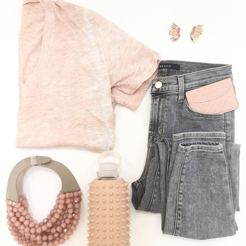 Grey & Soft Peachy Pink