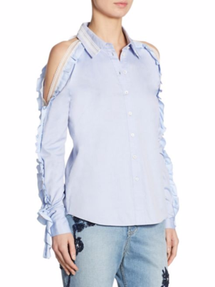 Jonathan Simkhai Cold Shoulder Ruffle Oxford Tops