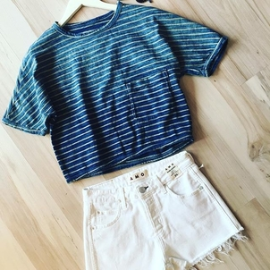 AMO Current/Elliott Striped Tee and Shorts Sale Shorts Tops