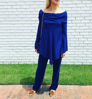 Sies Marjan Navy Velvet Top & Pants Pants Tops