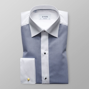 Eton White & Navy Pique Evening Shirt Tops