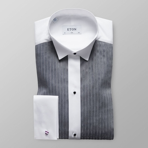 Eton Black & White Plisse Evening Shirt Tops