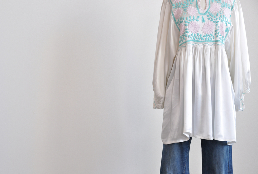 Just Say Native Satin Embroidered Tunic Tops