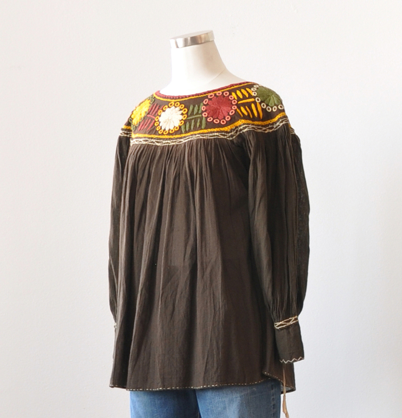 Just Say Native Embroidered Peasant Top Tops