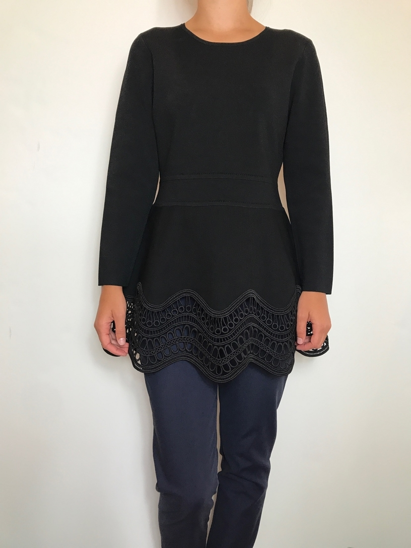 Long Sleeve Wave Lace Top with Twill Pant