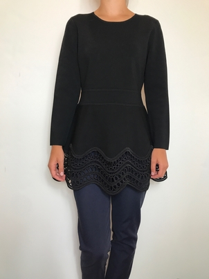 Lela Rose Long Sleeve Wave Lace Top with Twill Pant Pants Tops