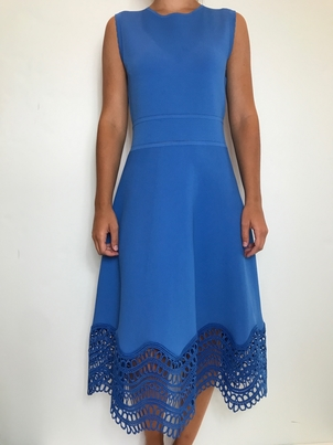 Lela Rose Sleeveless Wave Lace Dress Dresses