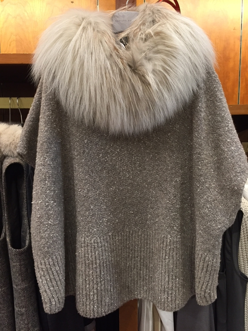 Fabiana Filippi Fur Collar Sweater Tops