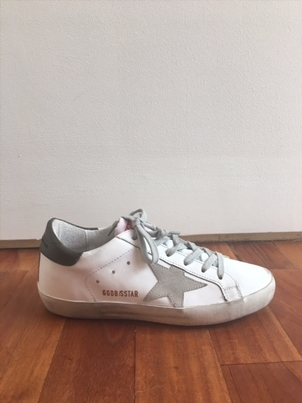 "Golden Goose Deluxe Brand ""Superstar"" White/Military Green Superstar Sneaker Sale Shoes"