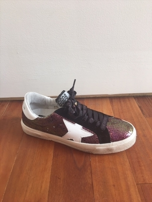 "Golden Goose Deluxe Brand ""May"" Iridescent Burgundy/White Star Sneakers Shoes"