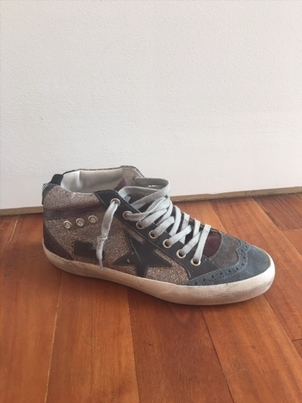 "Golden Goose Deluxe Brand ""Mid-star"" Multi Glitter/Grey Patent Low Top Sneakers Shoes"
