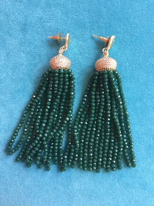 Rungolee Green Beaded Tassel Earrings Jewelry