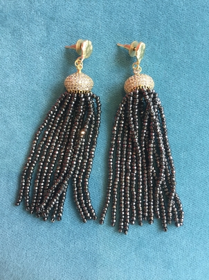 Rungolee Gunmetal Beaded Tassel Earrings Jewelry