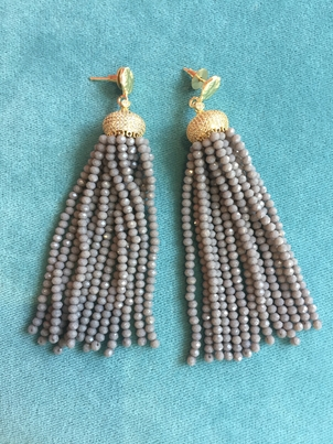 Rungolee Grey Beaded Tassel Earrings Jewelry