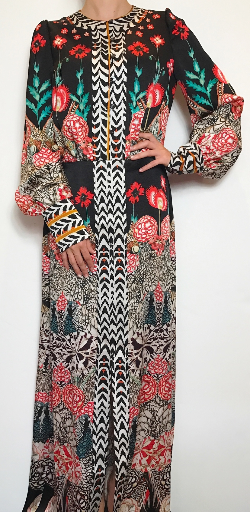 TEMPERLEY LONG SLEEVE PRINTED GOWN