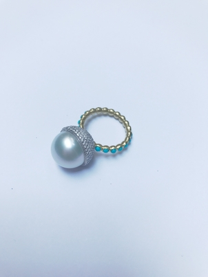Irene Neuwirth IRENE NEUWIRTH TURQUOISE BAND AND PEARL RING Jewelry