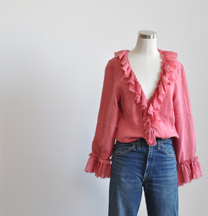 Pink Ruffle Blouse Tops