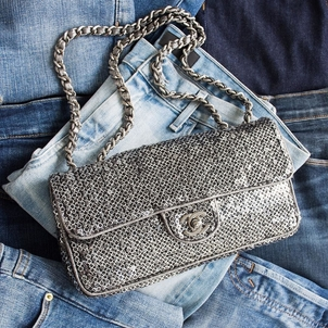 Chanel Silver Sequined Classic Single Flap Bag