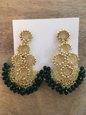 Crocheted Drop Earring - Emerald Holiday Jewelry