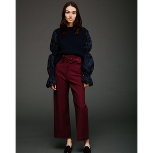 Sea Cropped Boating Pant in Wine Pants