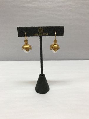 Julie Vos Gold Leaf Hanging Pearls Jewelry