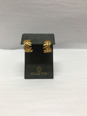 Julie Vos Thick Gold Leaf Earrings Jewelry