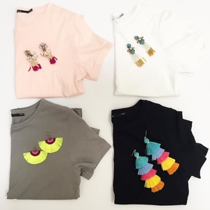 Basics and bobbles go great together. The @jbrandjeans t shirts should be a staple in every closet and these earrings will have everyone talking! If you have a need for any of these items, please sign up for our subs...