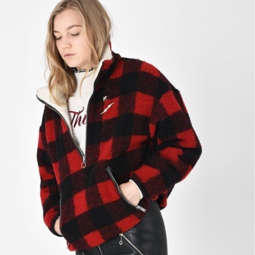 Gilas Short Checked Wool Blend Jacket