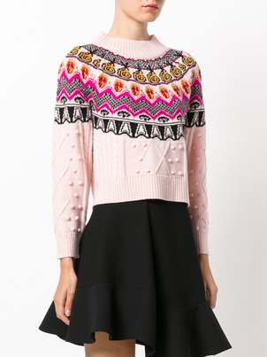Temperley London Cable Jacquard Crop Sweater Tops
