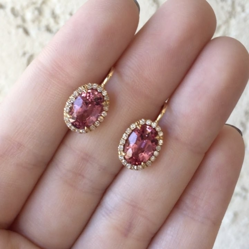 Pink Spinel, Diamond and Rose Gold Earrings