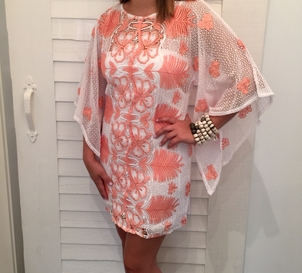 White and Coral Lace Dress - 50% OFF Sale