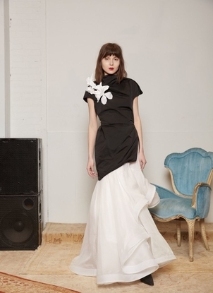 Rosie Assoulin Draped Neck Top with Flowers Tops