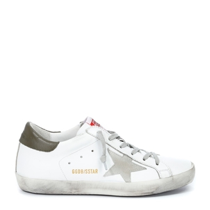 Golden Goose Deluxe Brand Superstar Sneaker - White and Military Green Shoes
