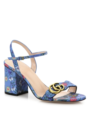 Gucci Marmont GG Flora-Print Leather Block-Heel Sandals Shoes