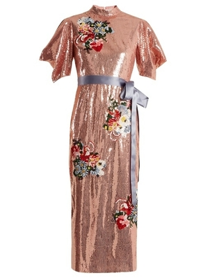 Erdem Emery Embroidered Floral Sequin Dress Dresses