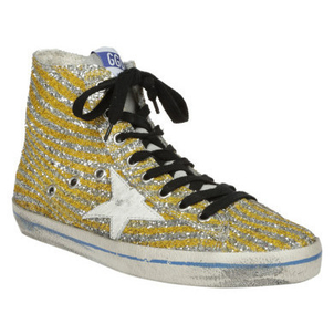 Golden Goose Deluxe Brand Francy High Top Sneaker in Yellow Glitter Zebra Shoes