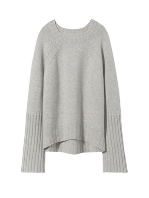 Nili Lotan Elsie Sweater Light Grey Melange Sale Tops