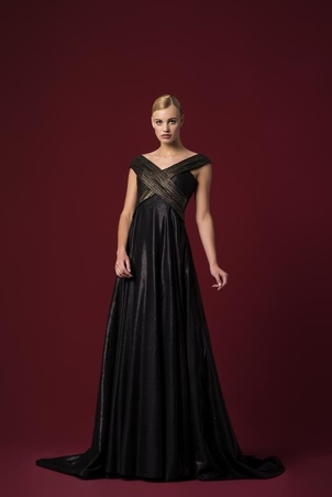 John Paul Ataker Mesh Off Shoulder Gown Dresses