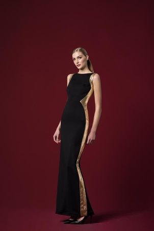 John Paul Ataker Gold Panel Crepe Gown Dresses