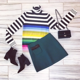 Striped Sweater, Embellished Skirt & Accessories