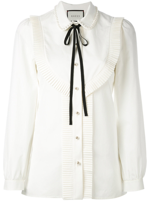 Gucci Poplin Shirt with Pearl Collar Tops