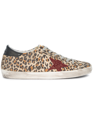 Golden Goose Deluxe Brand Leopard and Red Glitter Superstar Sneakers Shoes