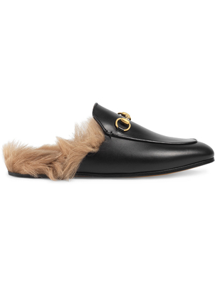 Gucci Black Leather Fur-Lined Princetown Mules Shoes
