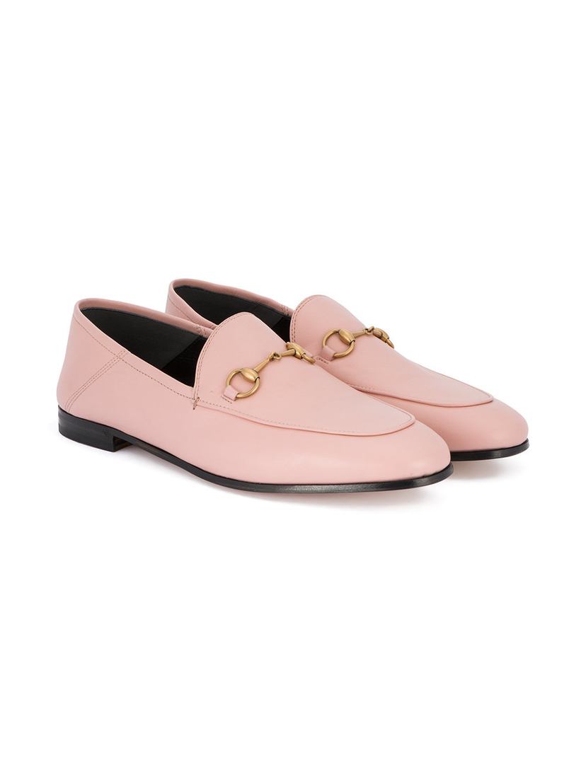 Gucci Pink Brixton Leather Loafers Shoes