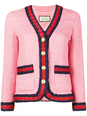 Gucci Pink Tweed Jacket with Ribbon Trim Tops
